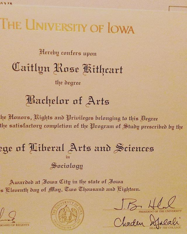 "Look what finally came in the mail today!! Yay for ""officially"" being a college graduate. #hawkeyes #sociology #diploma #college #collegegirl #collegegrad #collegegraduate #collegegrads"