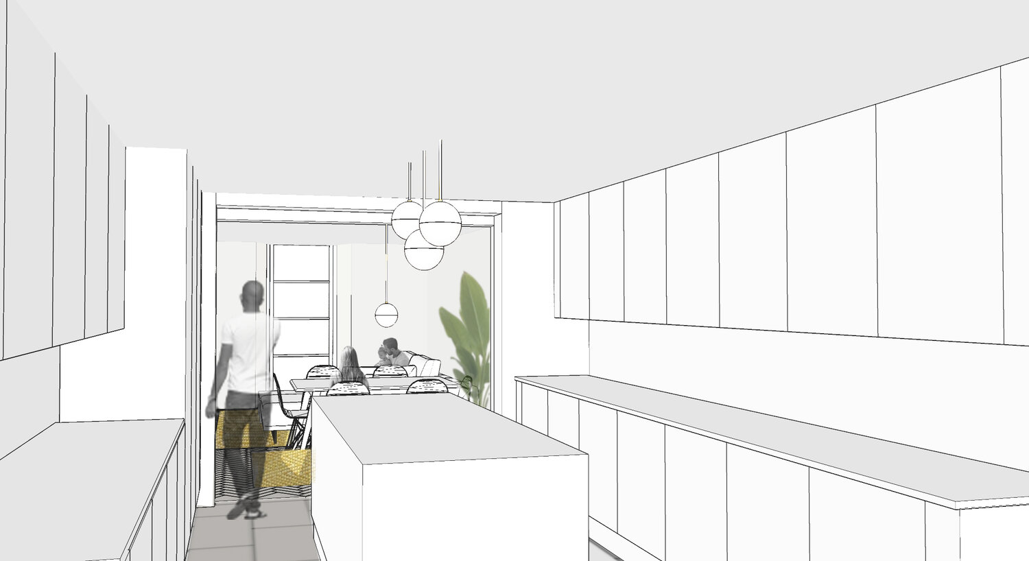 INTERNAL VIEW FROM PROPOSED KITCHEN