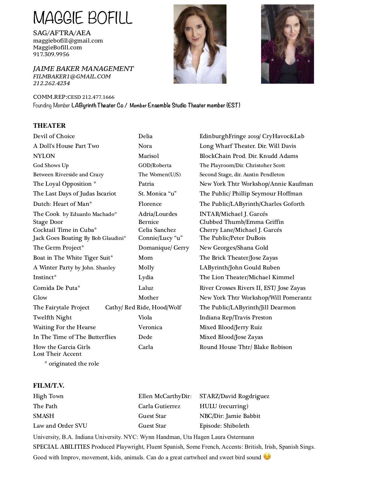 Resume Bio Actor Maggie