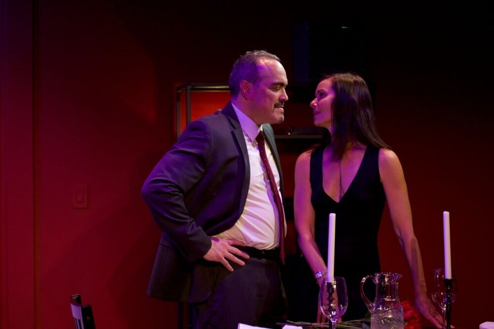 "David Zayas  and  Florencia Lozano  in a scene from LAByrinth Theater Company's production of ""Devil of Choice"" (Photo Credit: David Zayas, Jr.)"