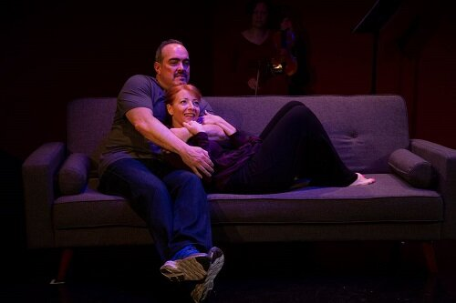 """David Zayas  and  Elizabeth Canavan  in a scene from LAByrinth Theater Company's production of """"Devil of Choice"""" (Photo Credit: David Zayas, Jr.)"""