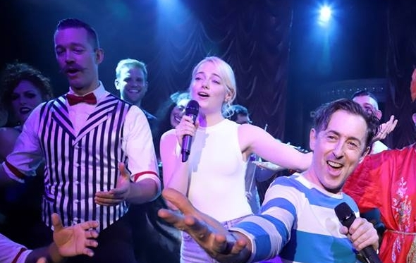 The Apple Boys onstage with Emma Stone and Alan Cumming at The Box, NYC - October 2017