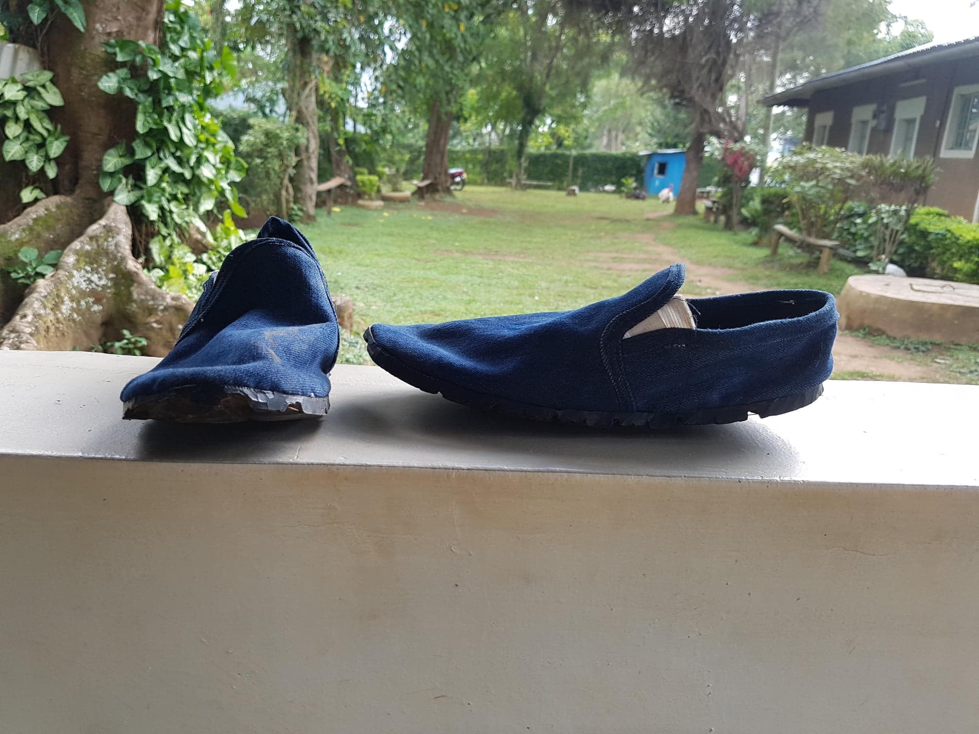 The initial prototype of the shoe, made from recycled denim and car tires.