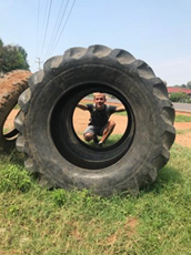 A tractor tire, perfect for shoe soles!