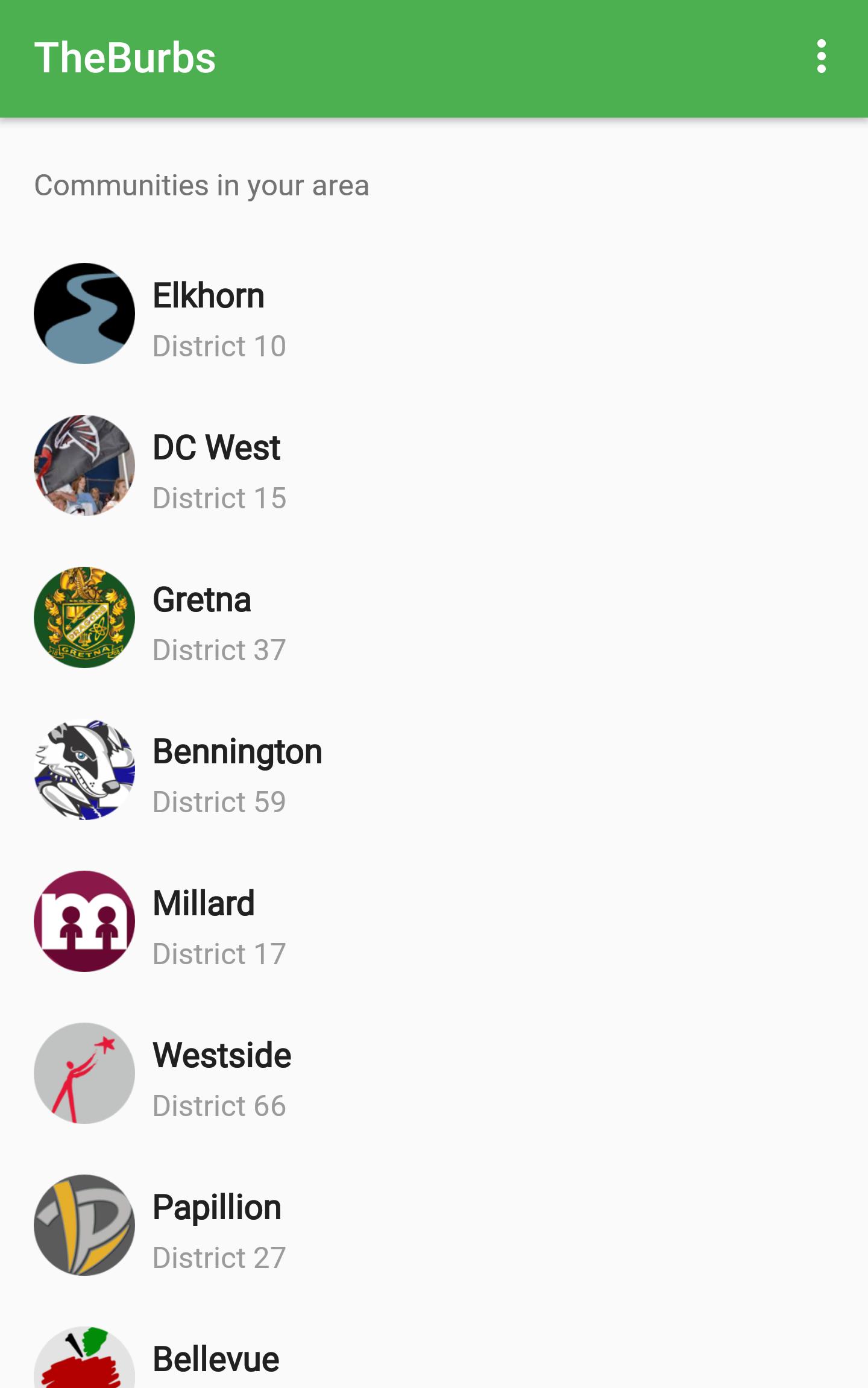 The Burbs app Communities Screen