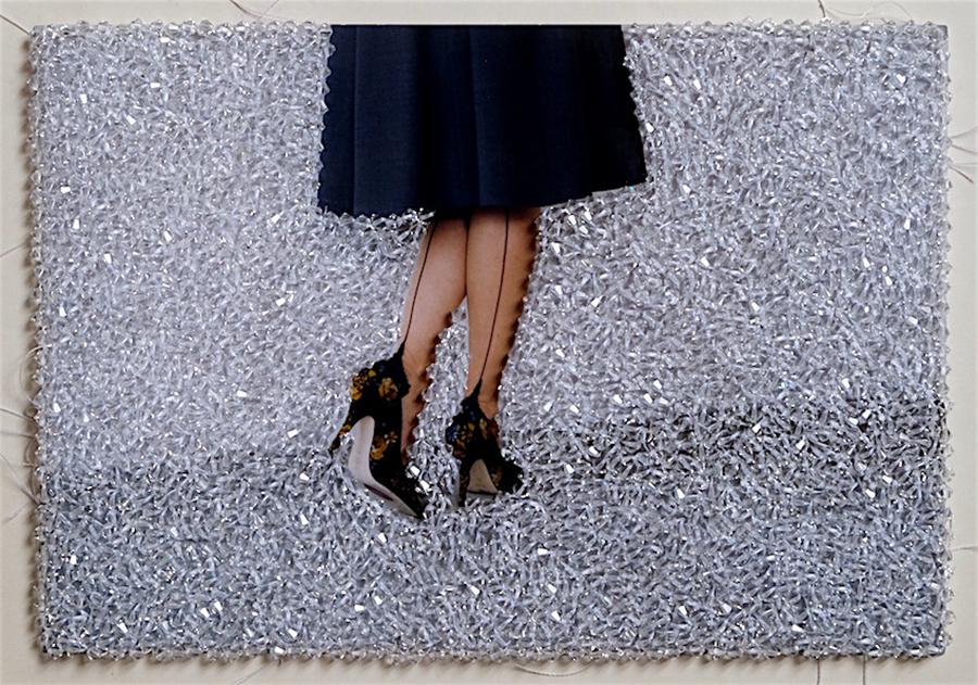 Sissi Farassat, Black Shoes, 2016, C-Print embroidered with Swarovski stones, Unique piece