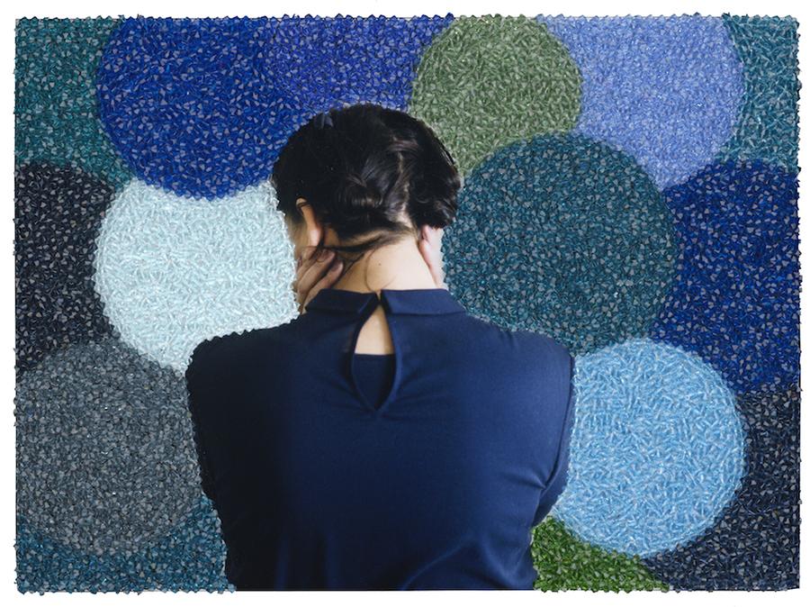 Sissi Farassat, Behind IX, 2014, Unique C-Print embroidered with Swarovski crystals, 26 x 31 cm, Unique piece