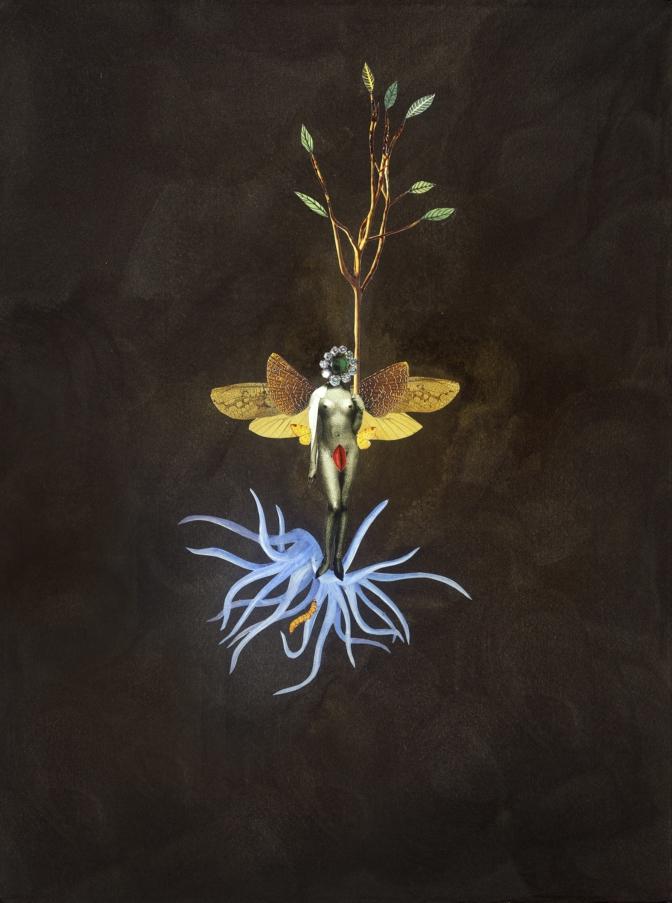 Deborah Kelly, Birth of Beeness, 2017 Collage, pure pigment, ink on Moulin de Larrocque handmade cotton paper 30,5 x 45 cm