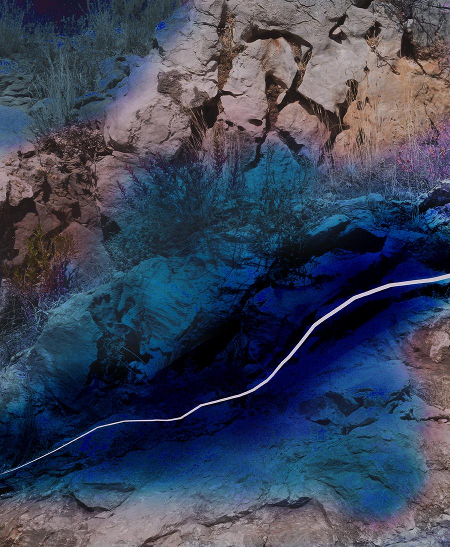 Douglas Mandry, Unseen Sights, Roc Surface II, 2018, Airbrush on C-Print, 110 x 90 cm, Edition 5 & 1 AP
