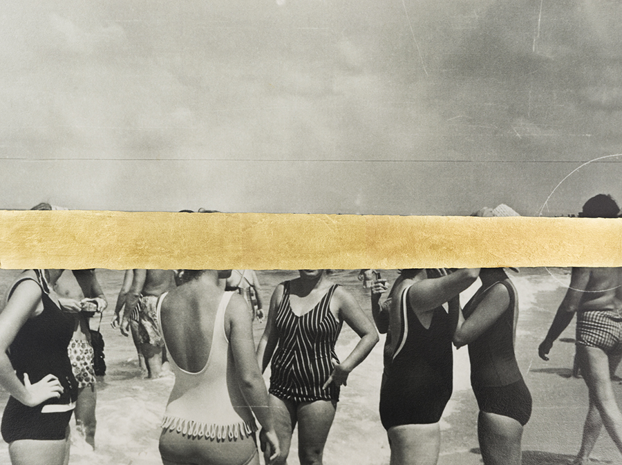 Carolle Bénitah, Group de femmes à la plage, 2018, Gold leaf on Baryta paper, Archival Pigment Print 30 x 40 cm , Edition 5, signed & numbered