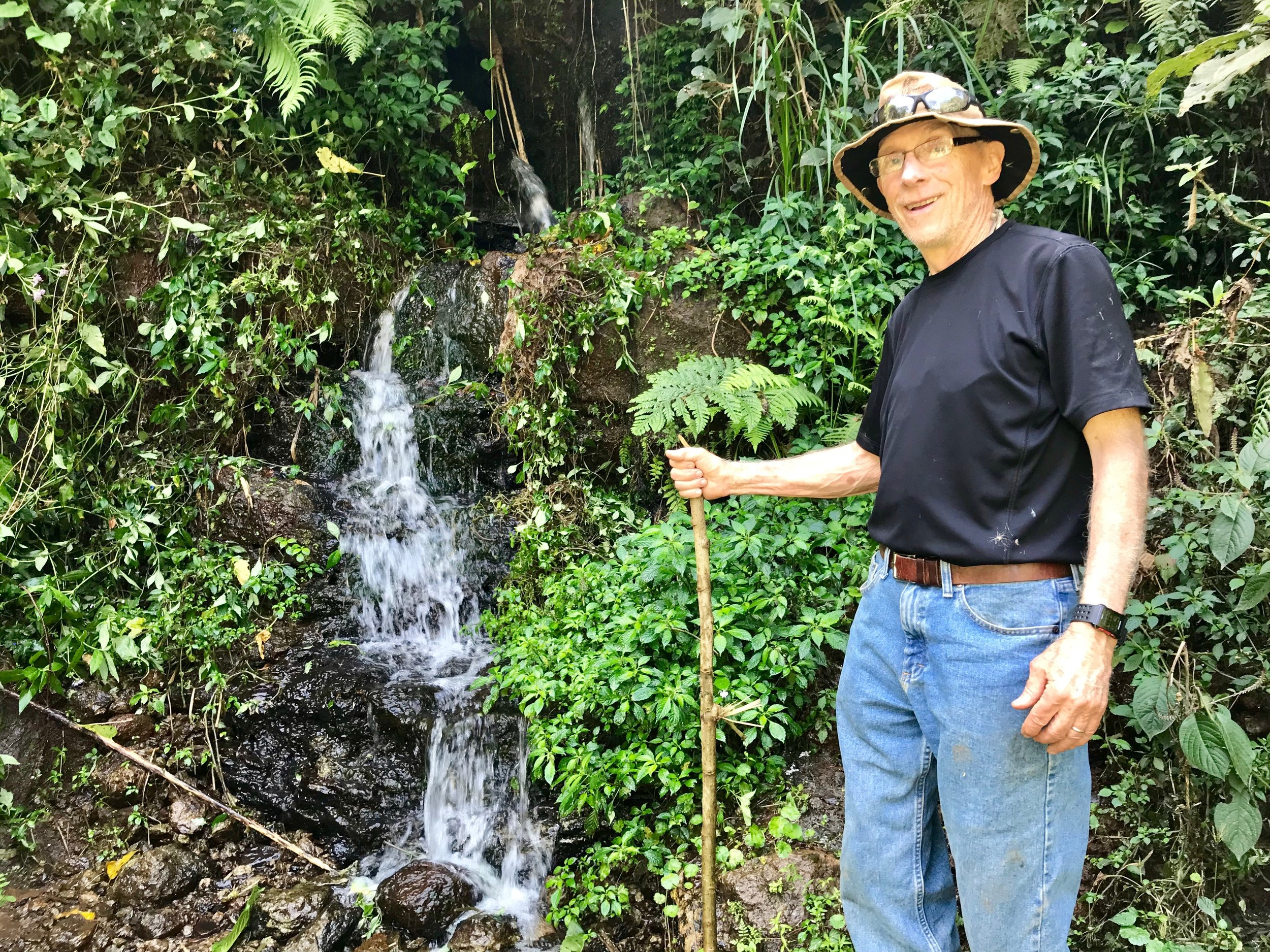 Don Koppes pictured in front of the Hadera spring. Construction will begin in January and it should be completed by April 2019. Water from this spring will serve the poorest section of Homacho.