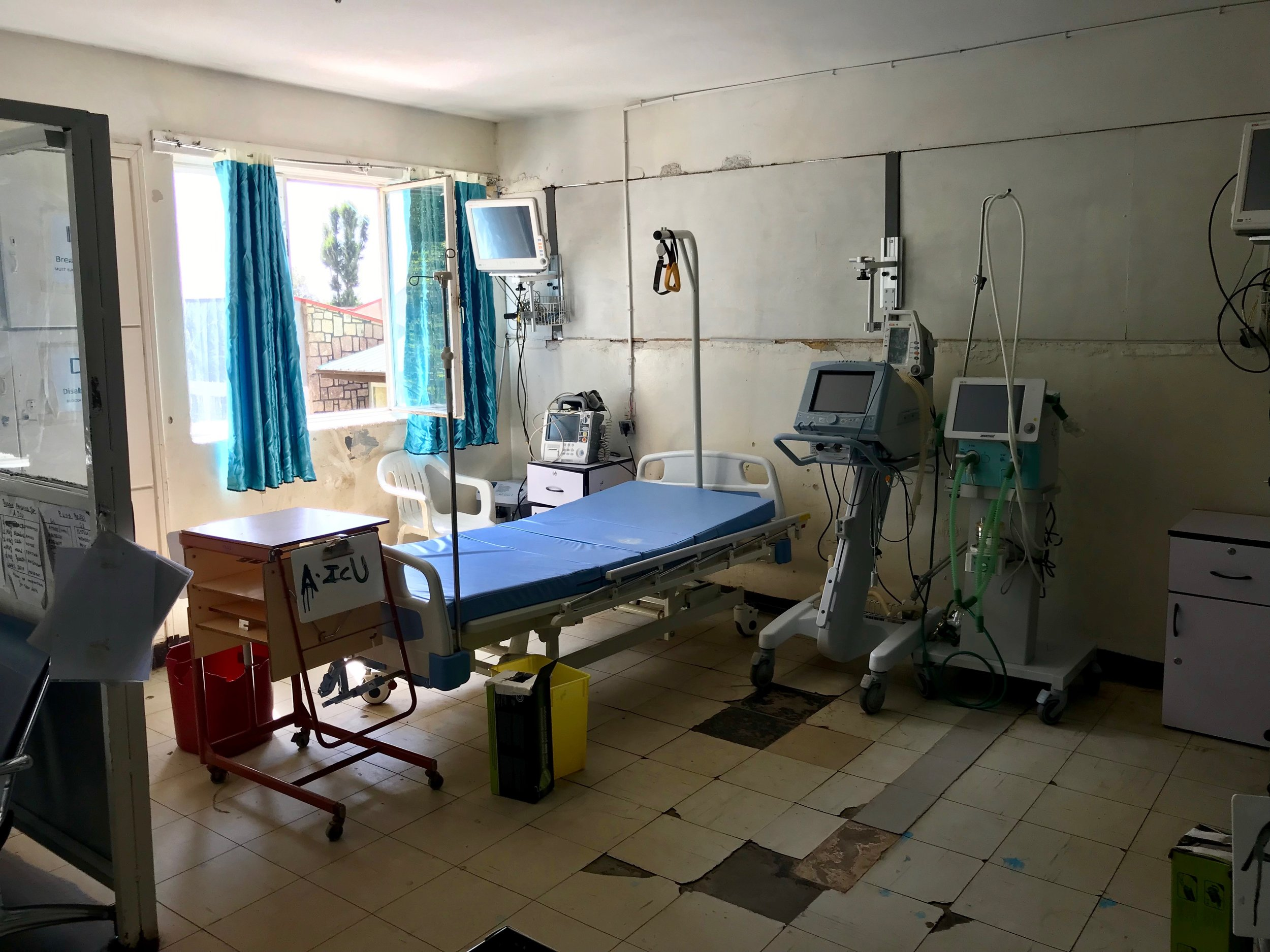A bed in the intensive care unit of the Hosanna hospital.