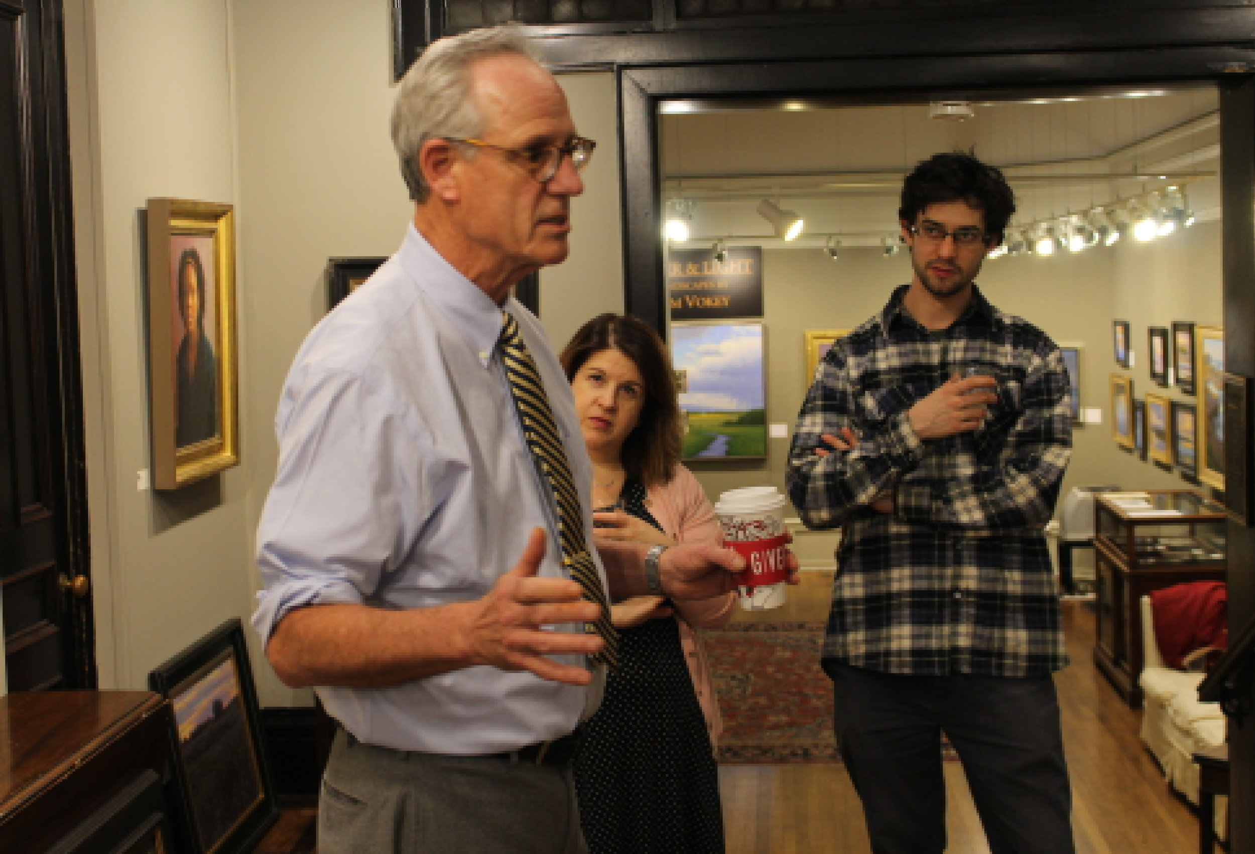 Stapleton Kearns during an Artist Talk at the Guild of Boston Artists