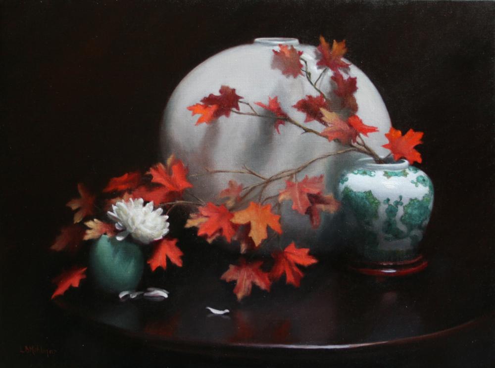 Chrysanthemum and Maple Leaves