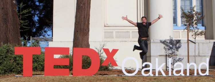 Jumping for joy at TEDxOakland, I was a media partner and hope to speak on-stage soon!