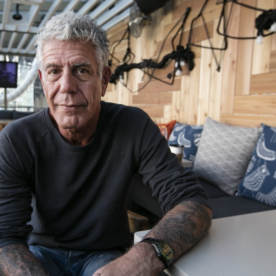 Chef Anthony Bourdain in downtown Toronto. (Photograph by Natalie Castellino)