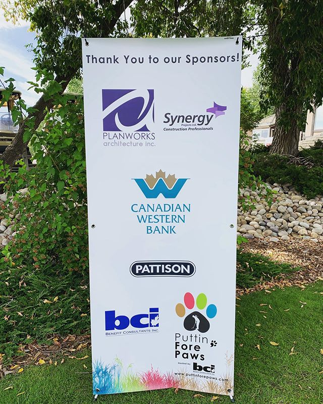 We'd like to give a big THANK YOU to our presenting #sponsors: Planworks Architecture Inc, Synergy Projects Ltd, @canadianwesternbank, @pattisonoutdoor, and BCI Benefit Consultants Inc. ⛳️🐶 #PFP2019 #YEG #YEGGOLF