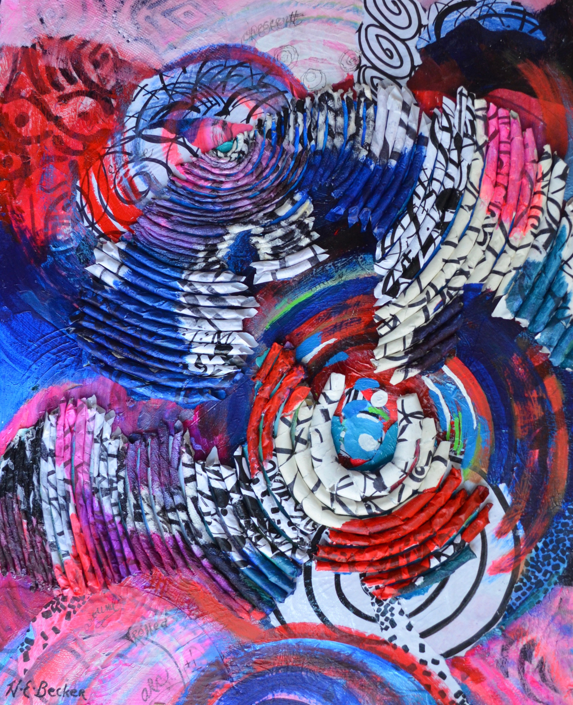 """Circling Around , 2018, acrylic with combined media on paper mounted on wood panel, 28"""" x 22"""""""