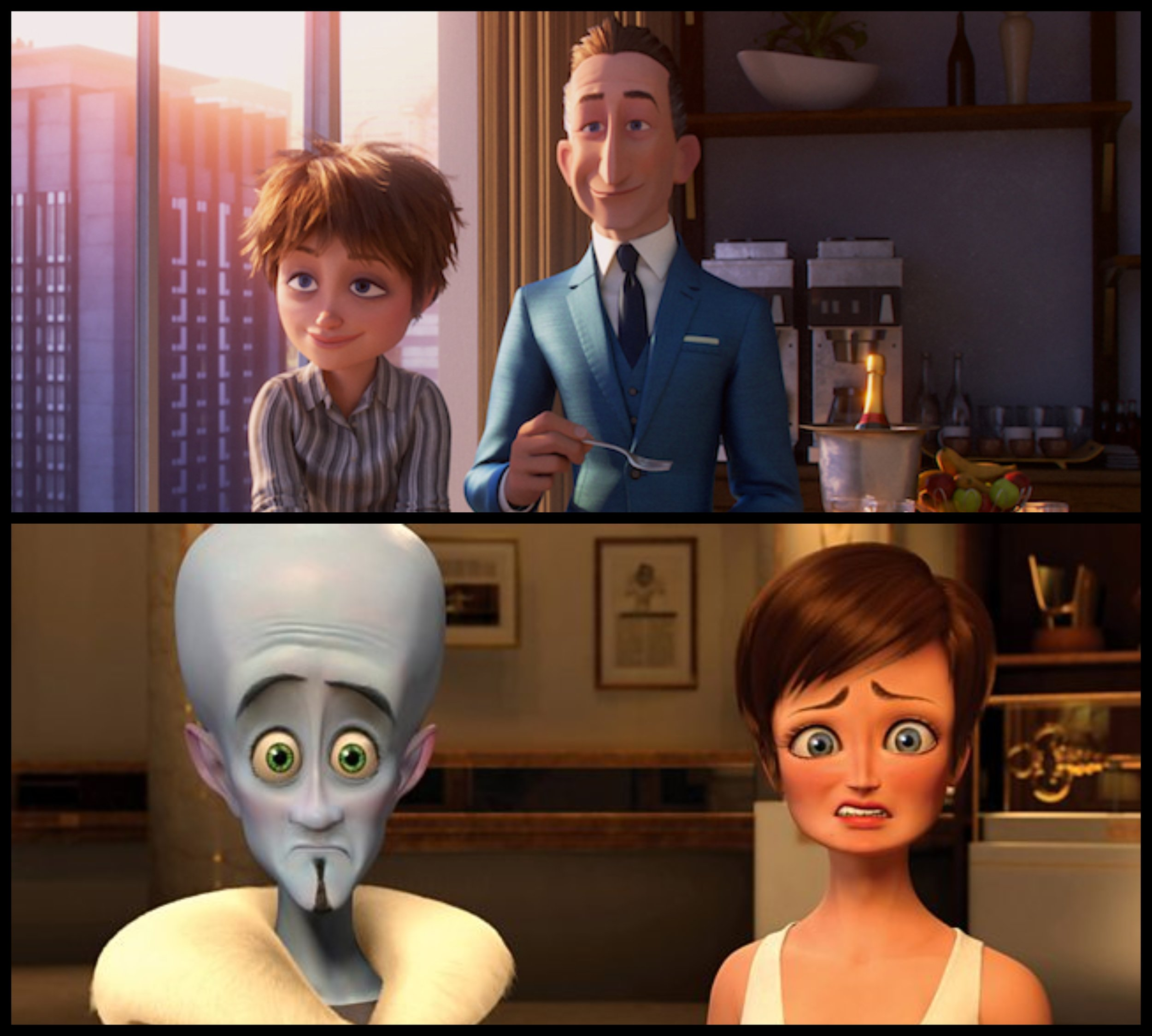 Fig. 4 - Evelyn Deavour and her brother Winston in  Incredibles 2  (top), and (bottom) Megamind and Roxanne Ritchi in DreamWorks'  Megamind  (Tom McGrath, 2010).