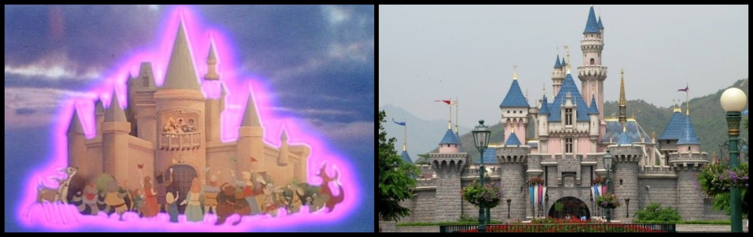 Fig. 8 - The magic castle in  9 to 5  and Sleeping Beauty Castle, Disneyland (Anaheim, California).