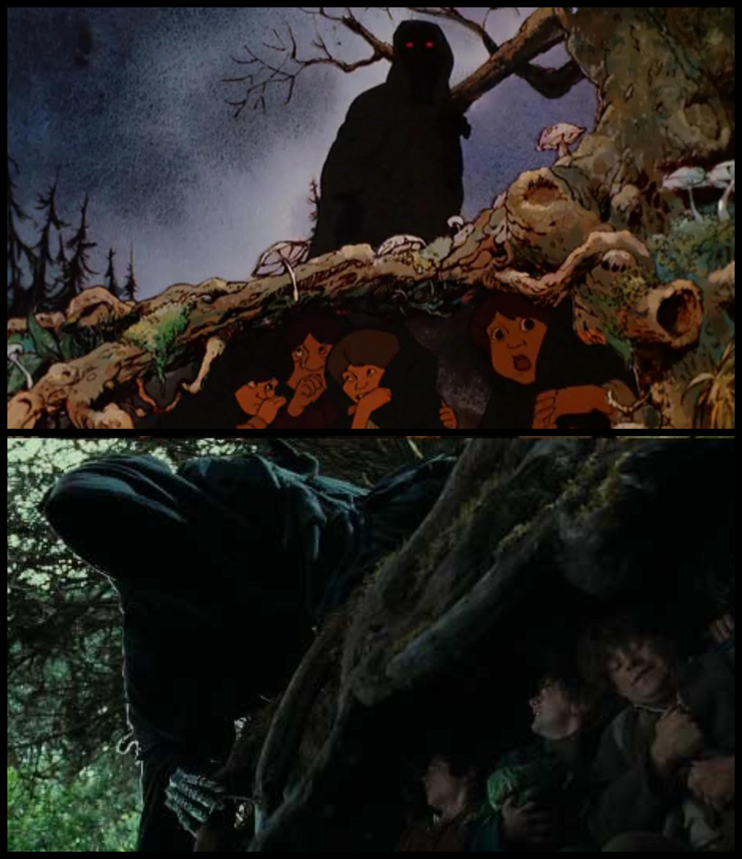 Fig. 1 - Ralph Bakshi's  Lord of the Rings  (top) and Peter Jackson's more recent adaptation (bottom).