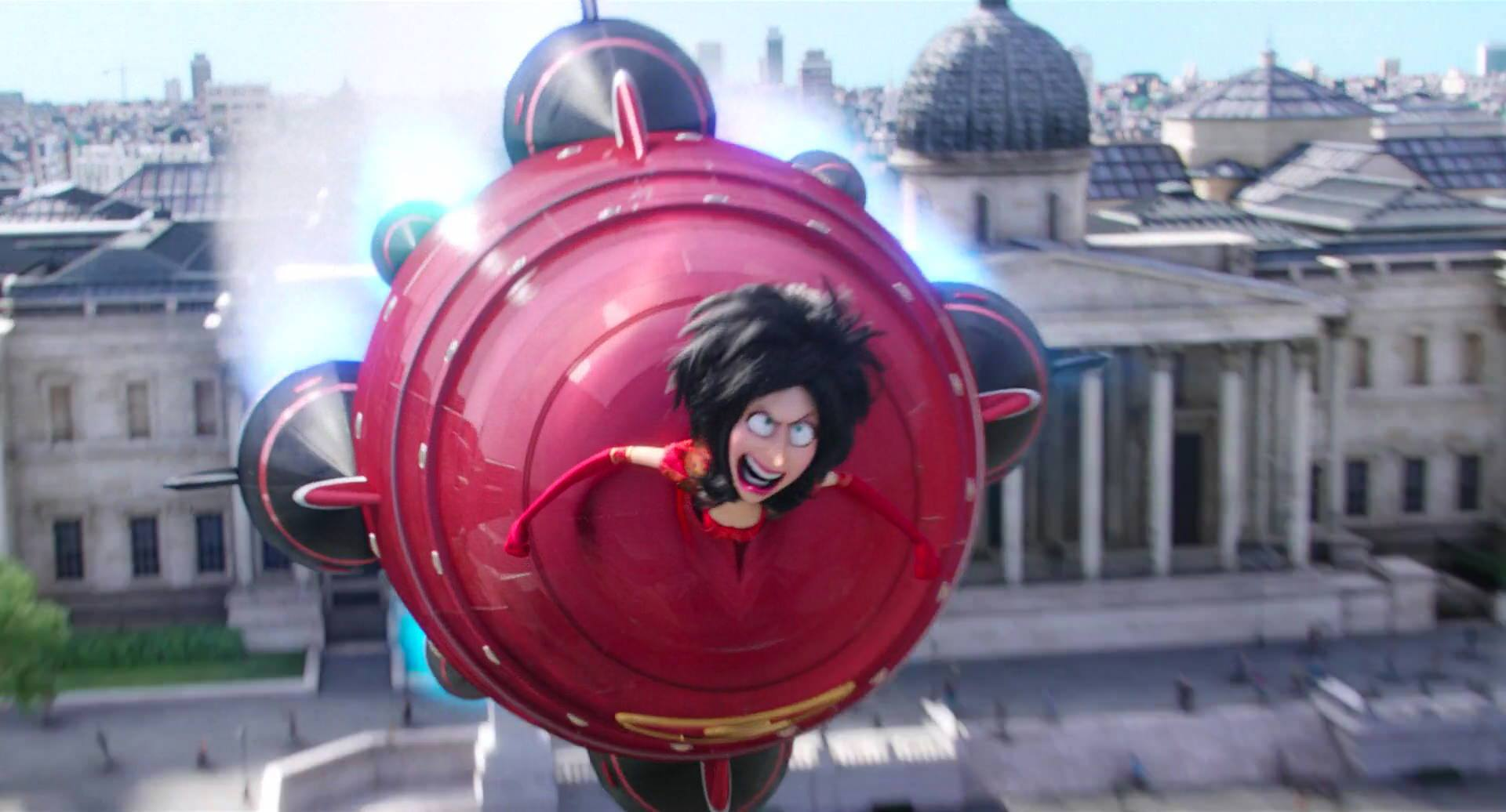 Fig. 1 - Character Scarlet Overkill flying with her clever space rocket dress in  Minions.