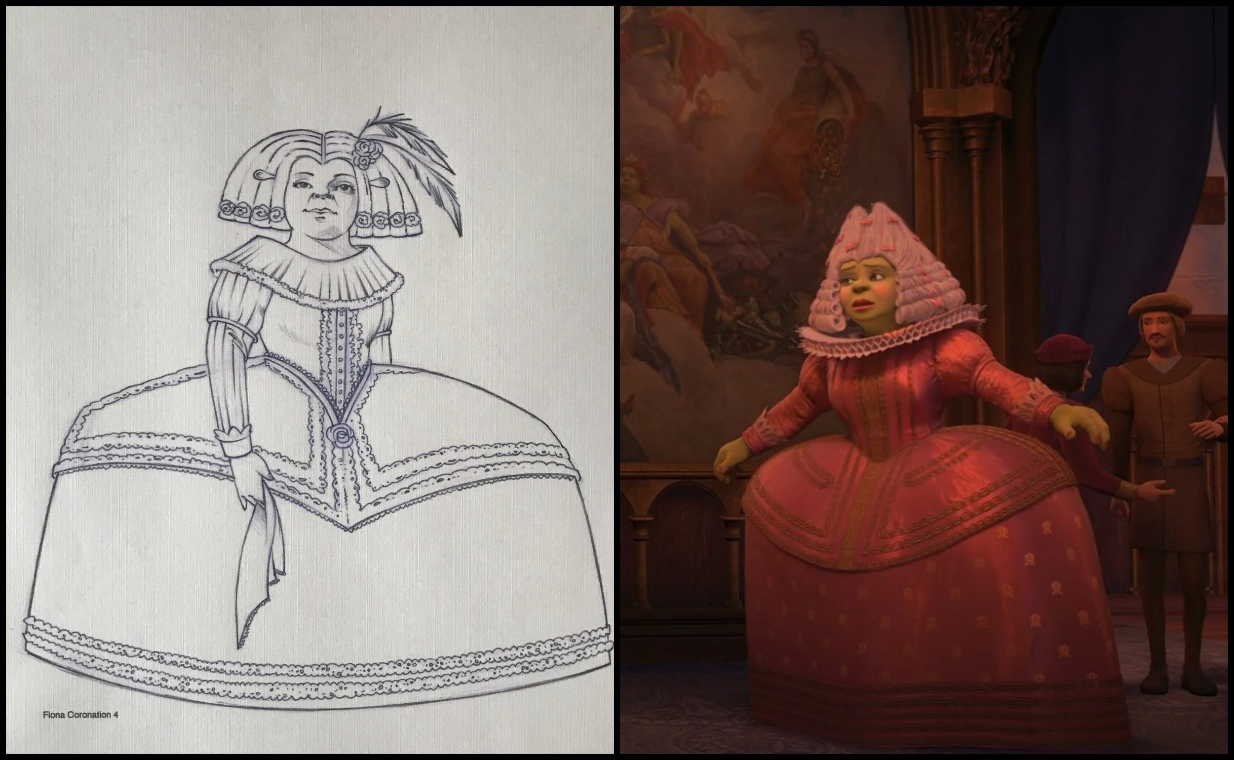 Figs. 2 & 3 - Israel Segal's costume rendering for character Fiona in  Shrek the Third  (left), courtesy of Israel Segal. The end result of the costume combines historical fashions from different periods (right).