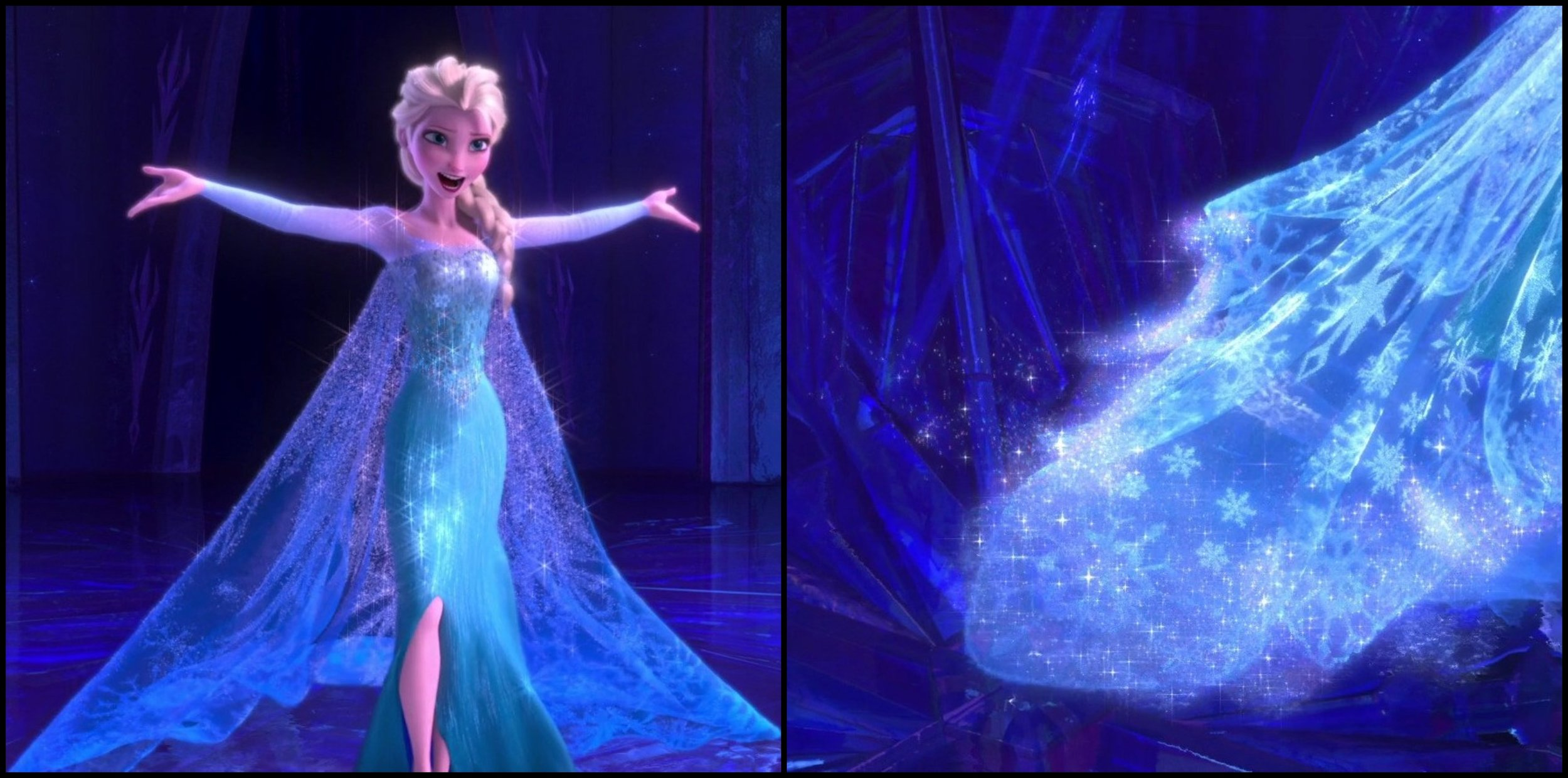 Figs. 4 & 5 - Elsa's ice dress in  Frozen  is a computer-generated textile that is not possible to create in real life. Such feature is an example of the fantasy element included in costume design that supports the character and narrative.