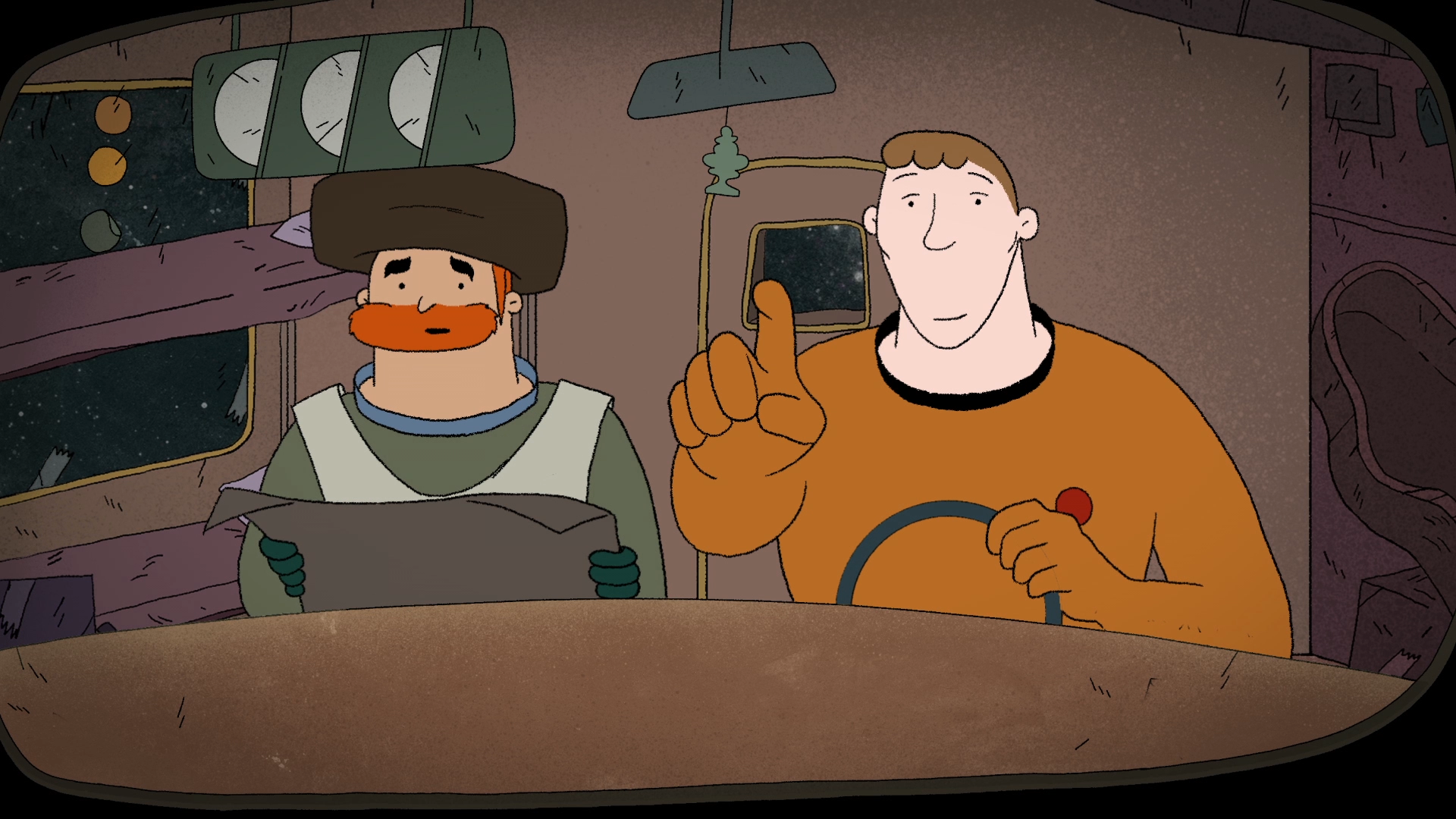 Fig. 2 - The main protagonists of  Niggun  - a rabbi, and a space archaeologist.