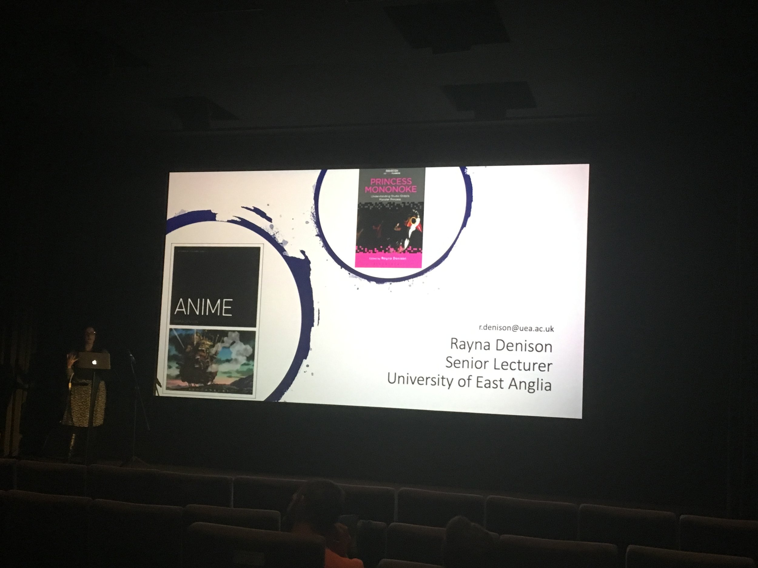 """Fig. 2 - Rayna Denison (UEA) introduces her keynote """"Miyazaki's Worlds of Women: Feminism in the Films and Working Practices of Studio Ghibli."""""""