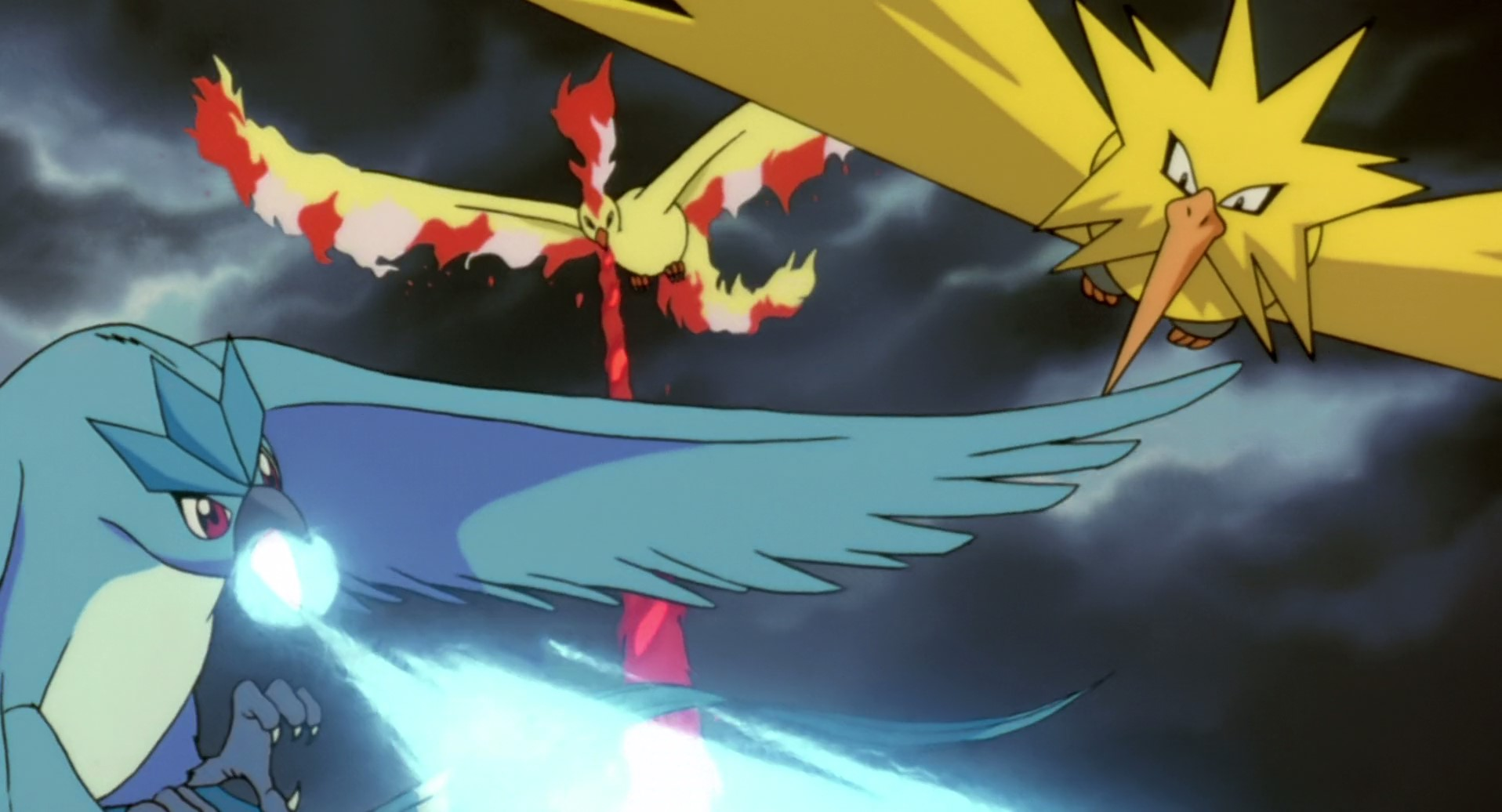 Fig. 4 - Elemental Pokémon Articuno, Moltres and Zapdos in Pokémon: The Movie 2000 (Kunihiko Yuyama, 1999).