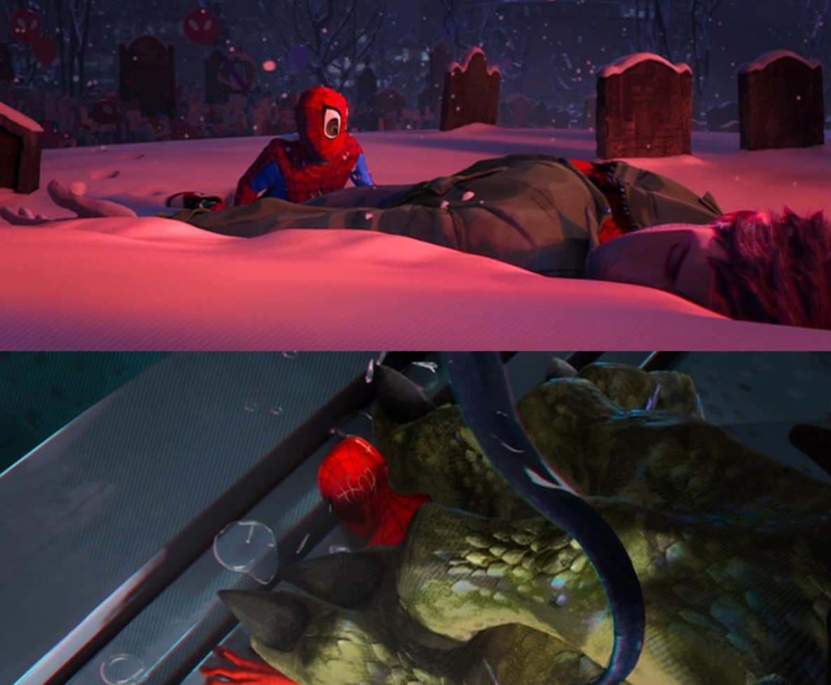 Fig. 2 - Variations of hyper-detailing in  Spider-Man: Into the Spider-Verse .