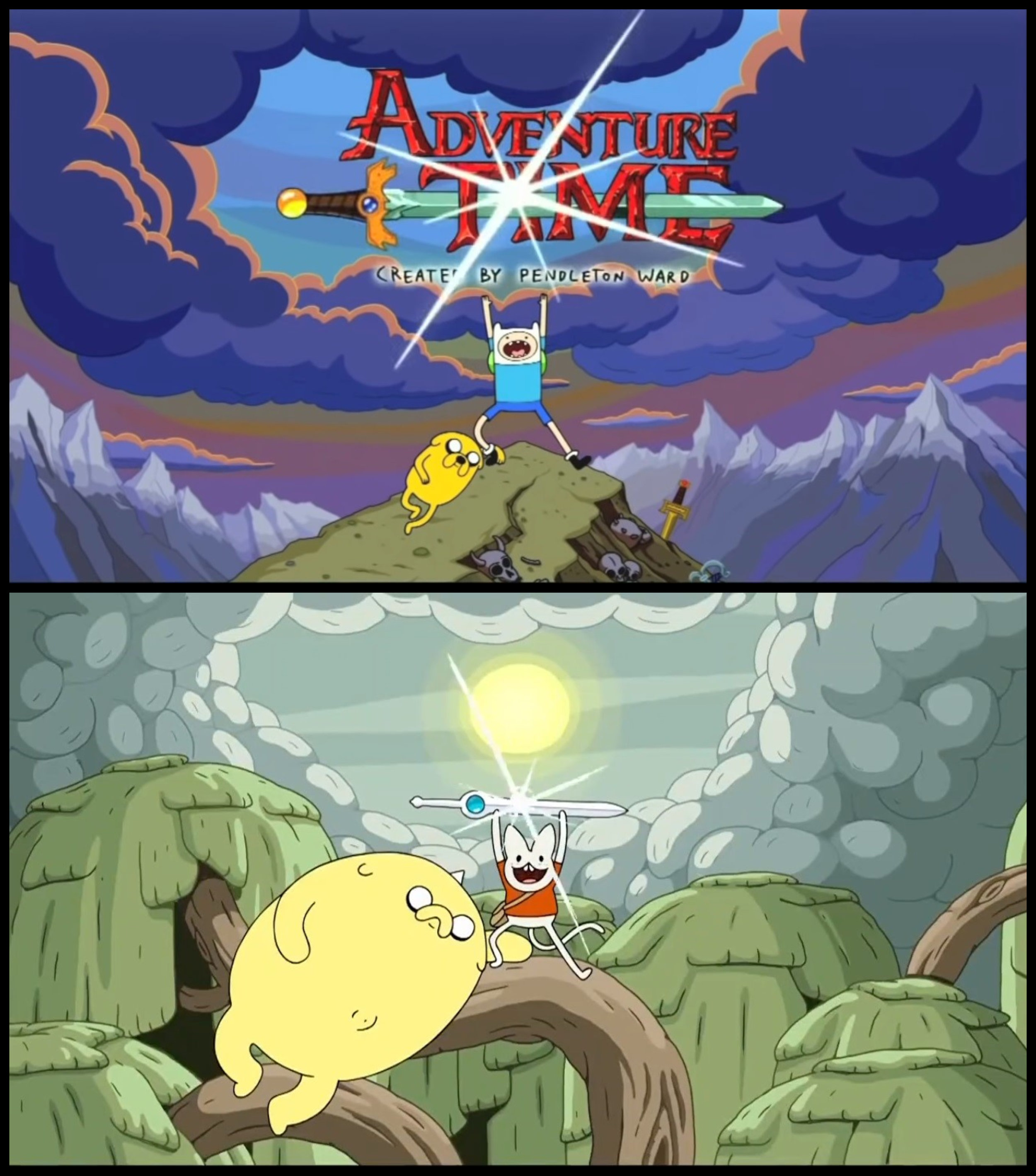Fig. 4 - (Top)  Adventure Time 's usual opening title sequence with Finn and Jake; (Bottom) Shermy and Beth recreating the title card, taking the mantle as the new heroes of Ooo.