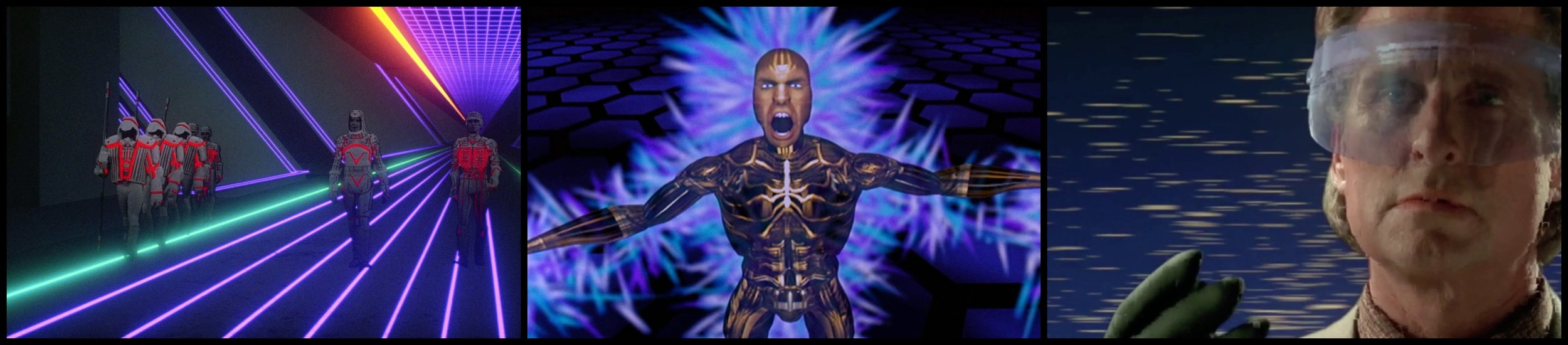 Fig. 4 - (L-R) Computer graphics as virtual reality in  Tron ,  The Lawnmower Man  and  Disclosure .