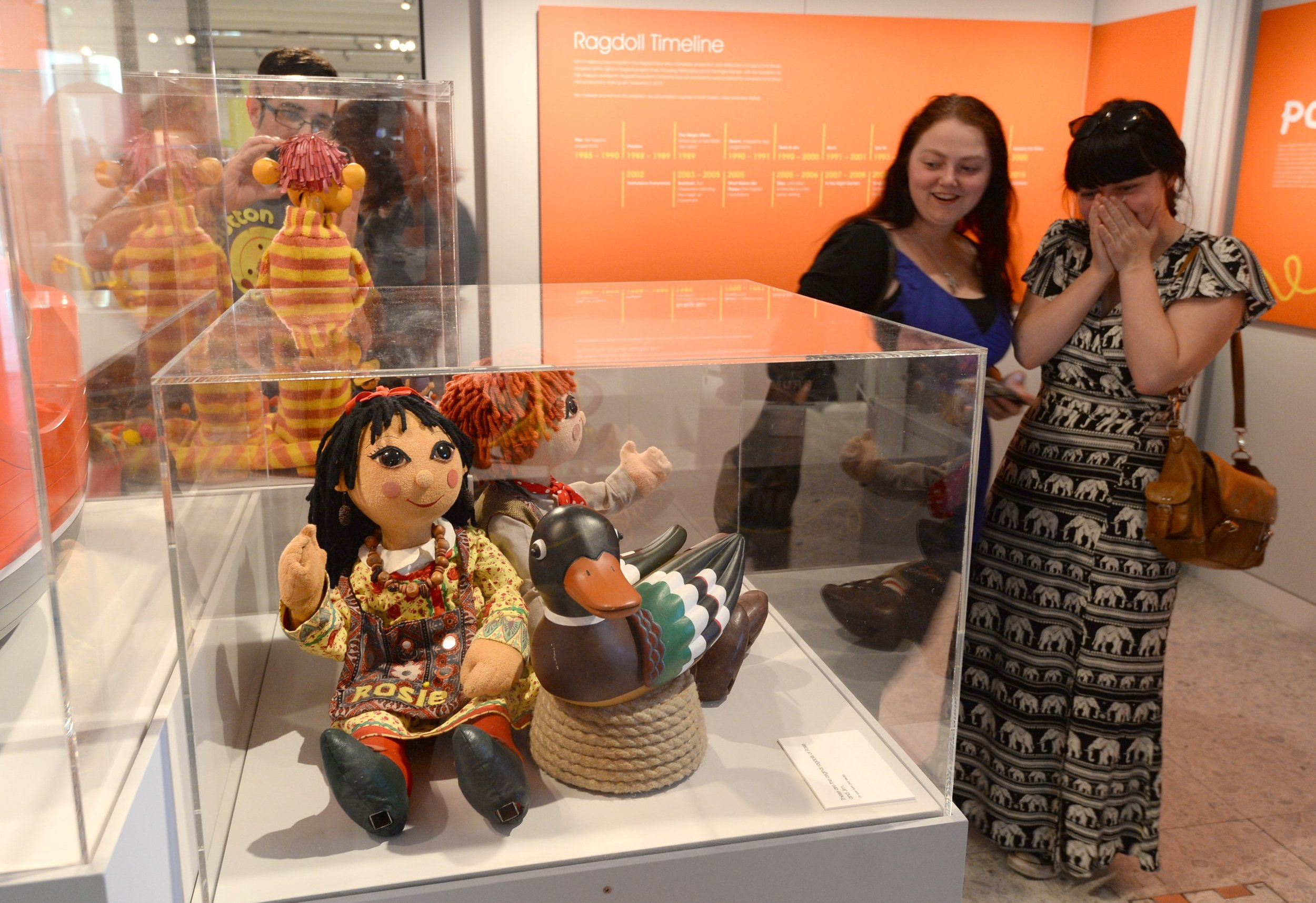 Fig. 2 - Visitors meet Rosie and Jim at The Story of Children's Television exhibition.