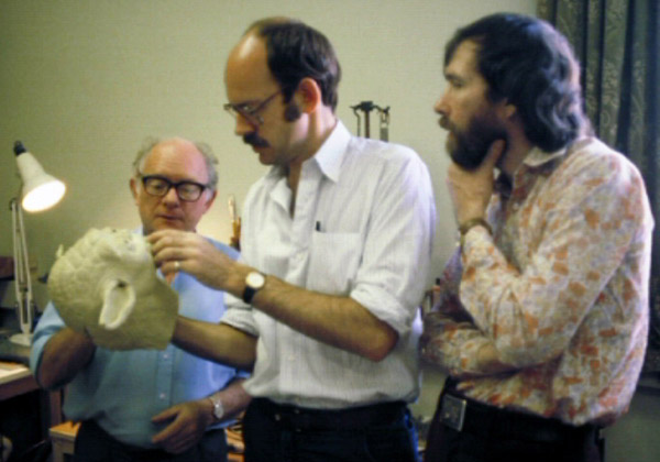 Fig. 3 - Henson, Oz and Stuart Freeborn (who sculpted and fabricated) the Yoda puppet consulting during prep for  Star Wars: The Empire Strikes Back .