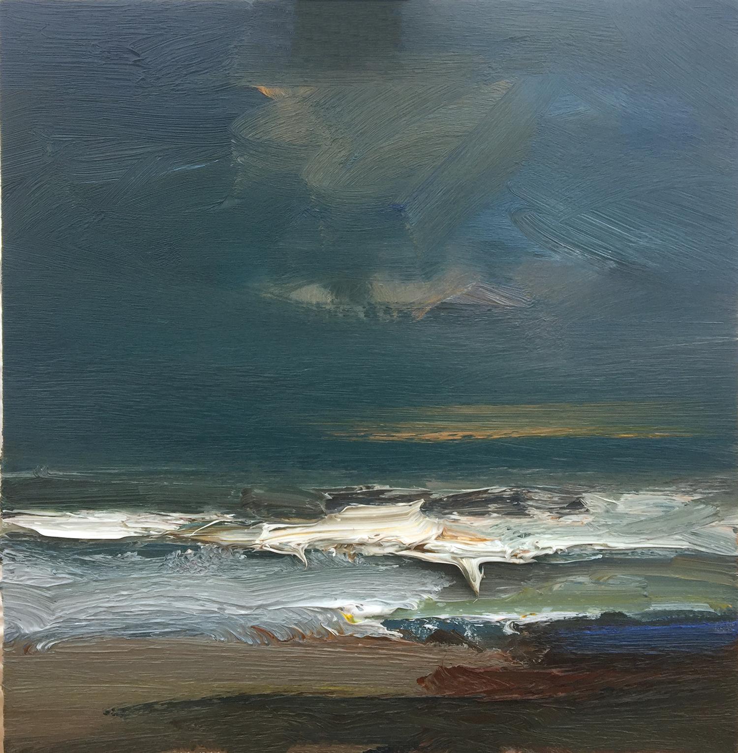 Incoming tide. North Sea oil on board 35x35cm