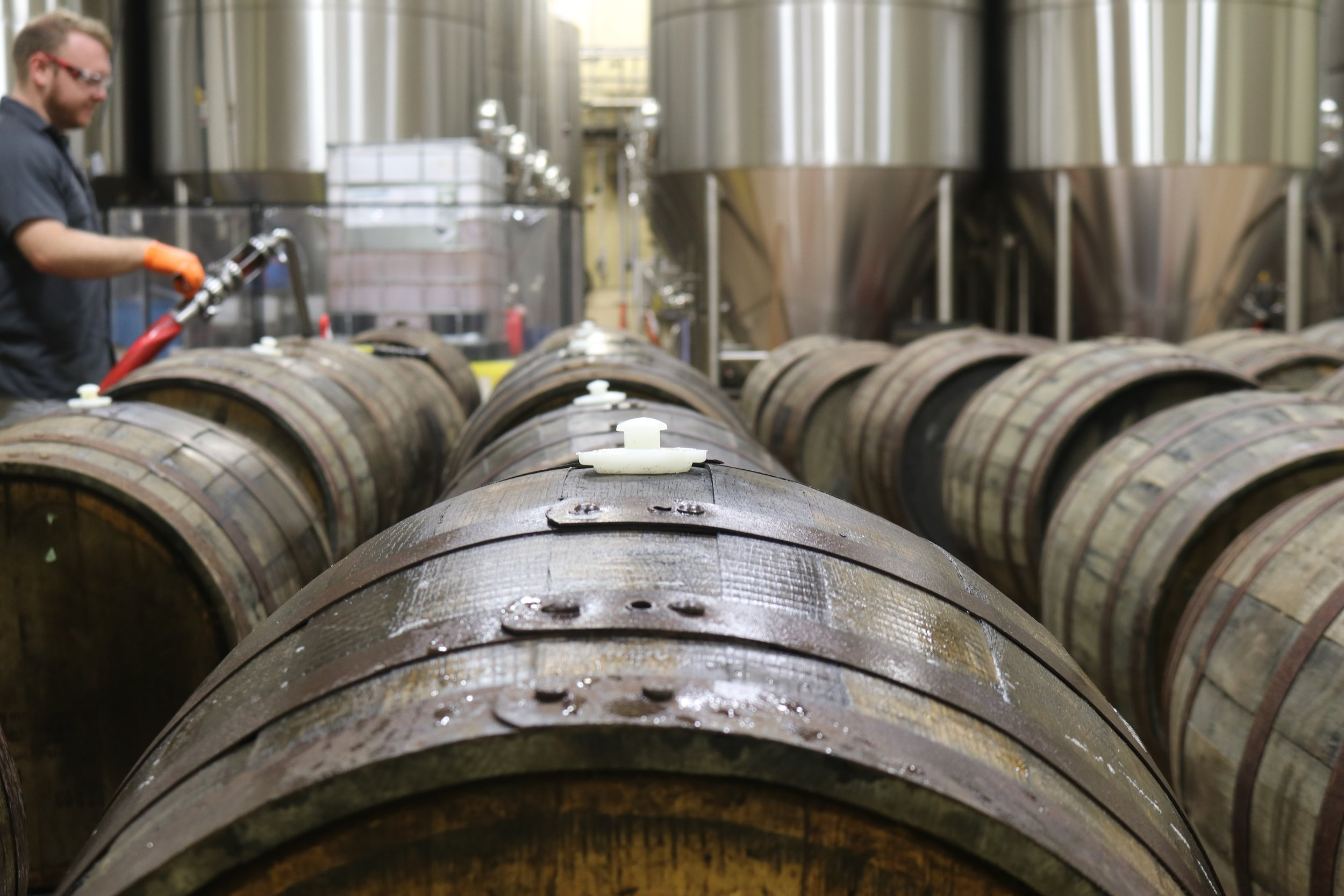 Barrels in brewing facility