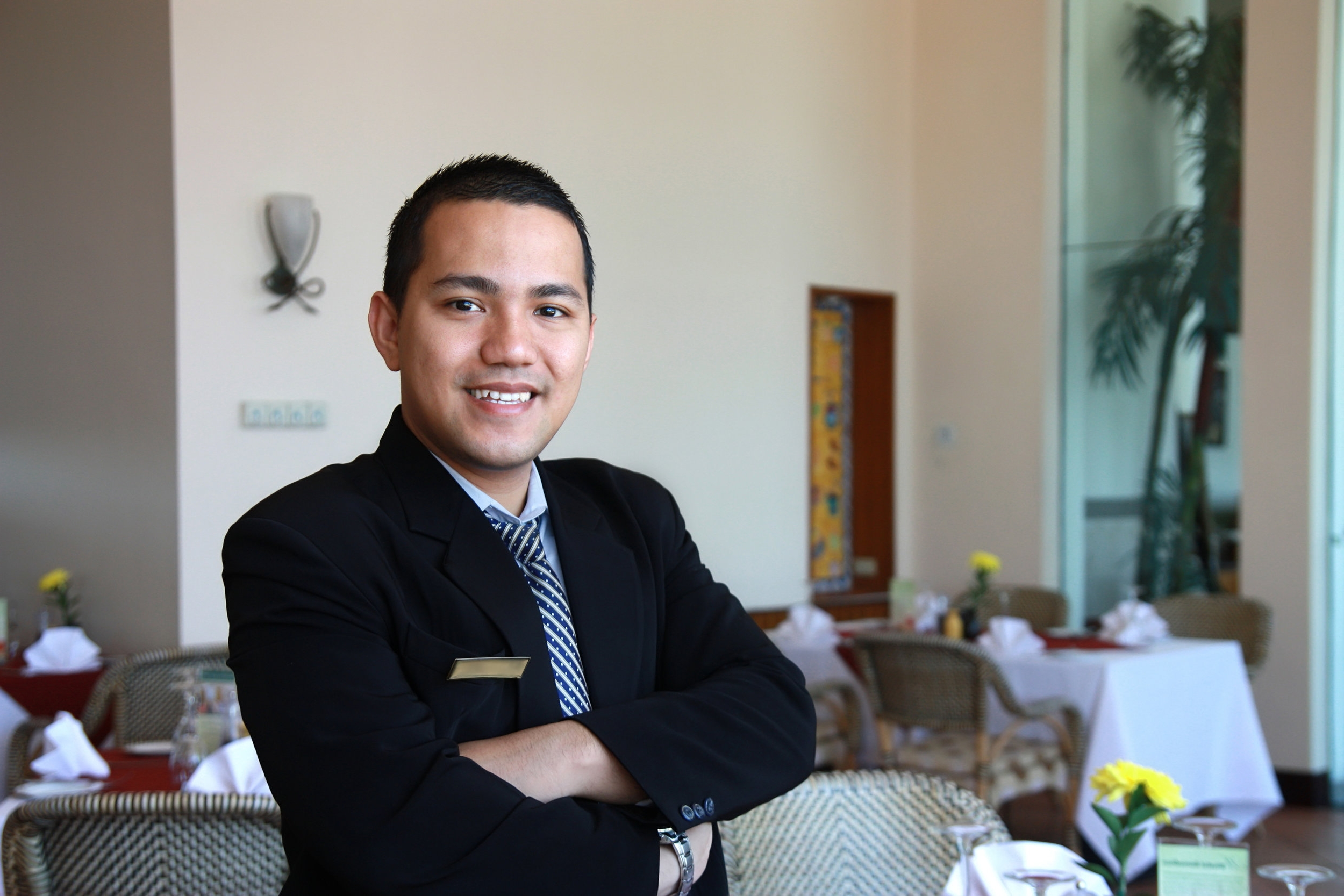 Hospitality student in restaurant