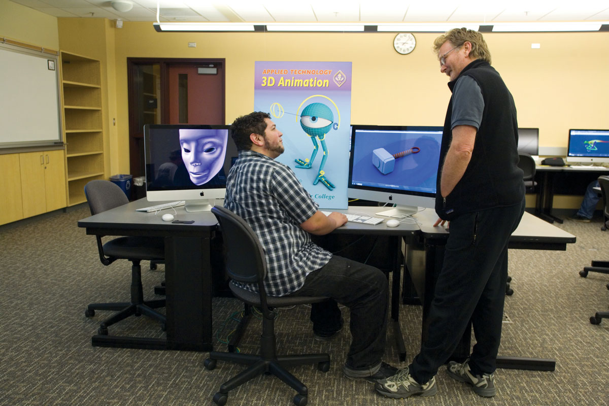 Students creating 3D animation in classroom