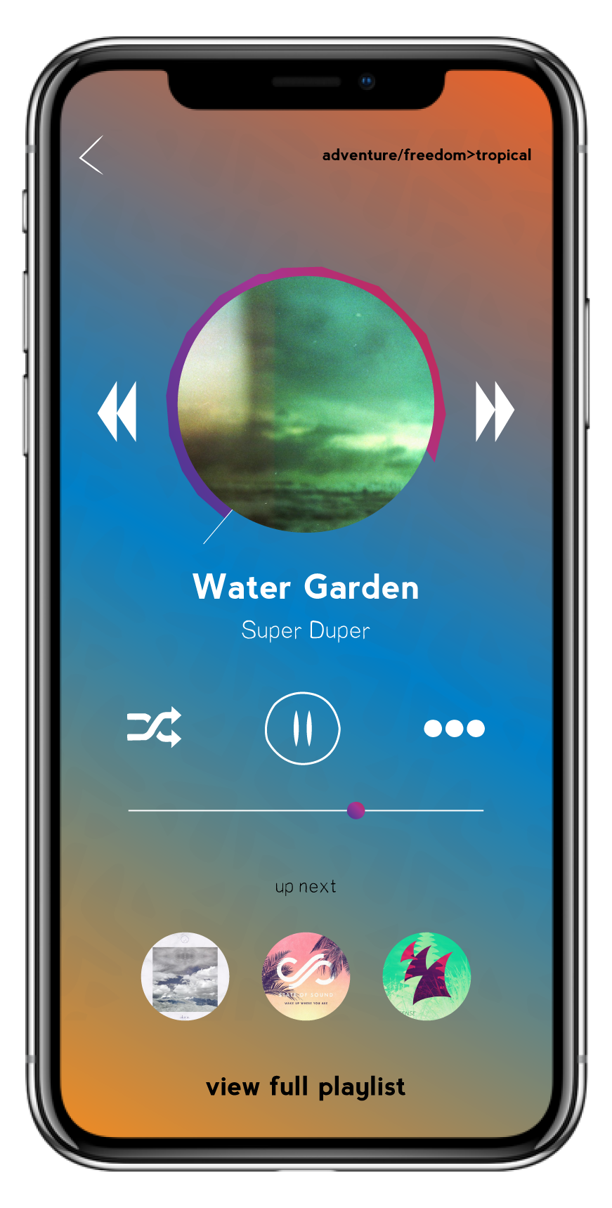 - Simple and easy to use interface with a unique progress bar that circles around the album image.