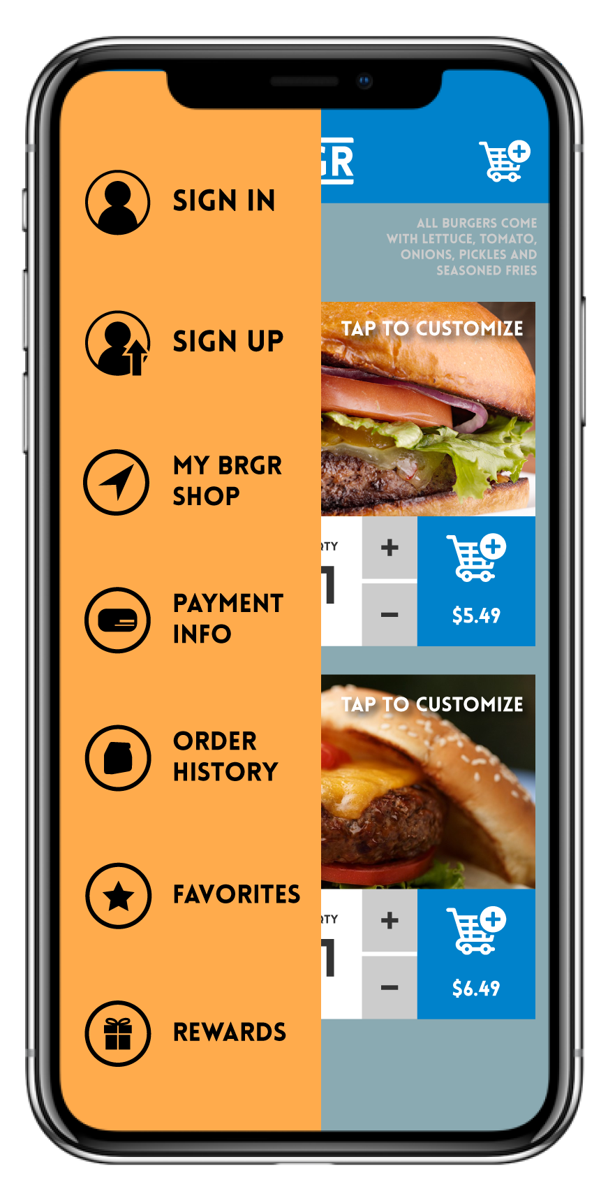 - Tapping the Hambrgr icon brings up info such as your saved locations, payment info, order history, and your completed tasks.Making an account means you don't have to put this in every time you use the app!