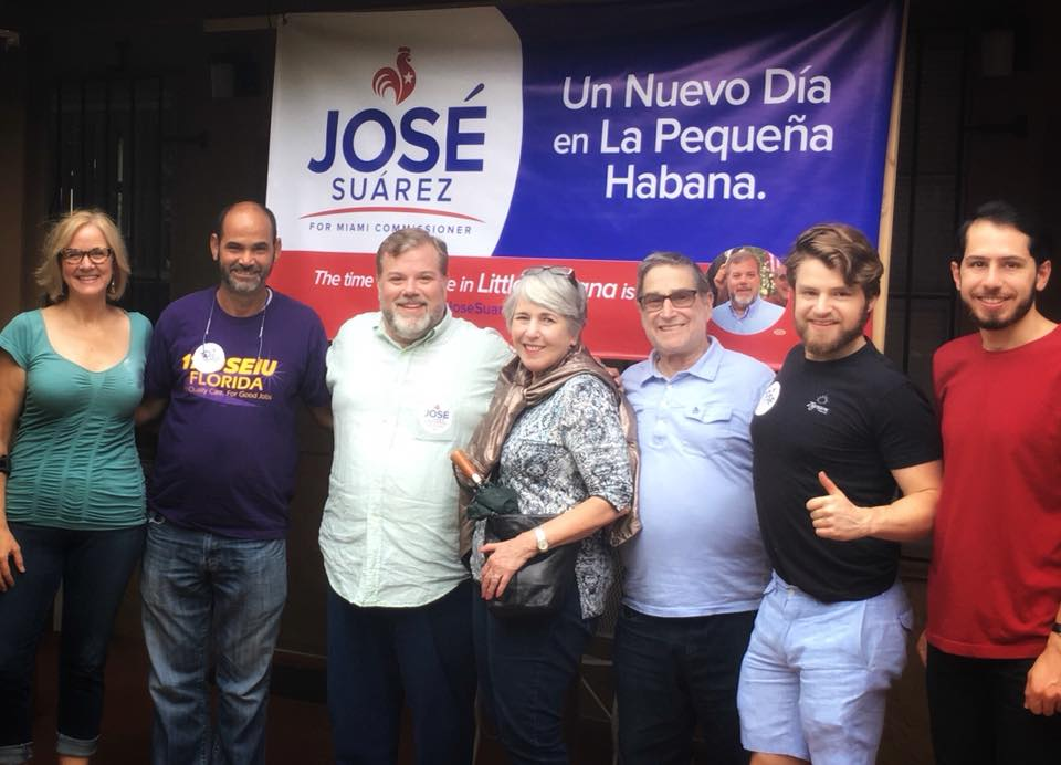 Knocking on doors with our friends from the Little Havana Dems (on a rainy, rainy day!)