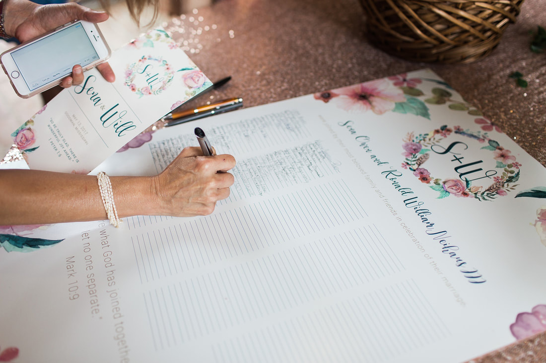 In lieu of a traditional guest book, the couple chose to have a signature sign made. The guest sign was later framed and displayed at the reception.
