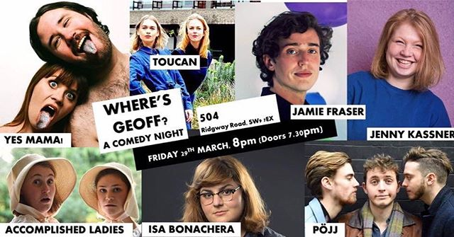 Suuuper excited to be on the bill tonight for Where's Geoff? alongside  these other STUNNAZ @ 504 Brixton. Get ya tix 💃💃💃
