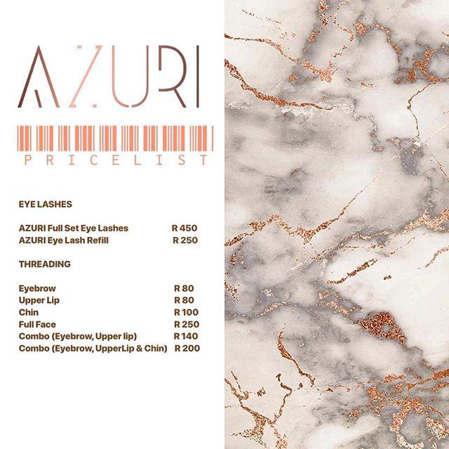 AZURI EYE LASH AND THREADING 💋  For bookings:  Phone : 065 8295787/ Email : info@azuribeautybar.com/ Online : www.azuribeautybar.com