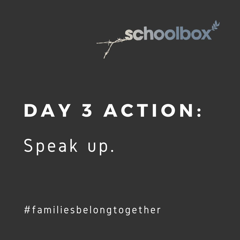 Day 3. YOUR ACTION: Call your representatives (Find numbers here: https://www.callmycongress.com/ ) and urge them to cosponsor the following legislation: S. 3036 – Keep Families Together Act R. 2572 – Protect Family Values at the Border Act R. 5950/S.2937 – the HELP Separated Children Act R. 2043/S. 2468 – Fair Day in Court for Kids Act of 2018  California Representatives: Huffman: (415) 258-9657 Harris: (415) 981-9369