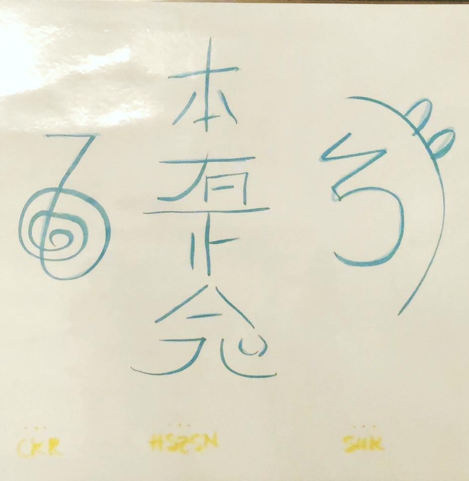 "Reiki Symbols - Cho Ku Rei (CKR)—The Power Symbol aka ""place power here""Hon Sha Ze Sho Nen (HSZSN)—The Distance symbol aka ""having no past, present or future""Sei He Ki (say-hay-key) (SHK)—Emotional + Mental Healing + Balance aka ""earth + sky meet"" or ""god + man become one"""