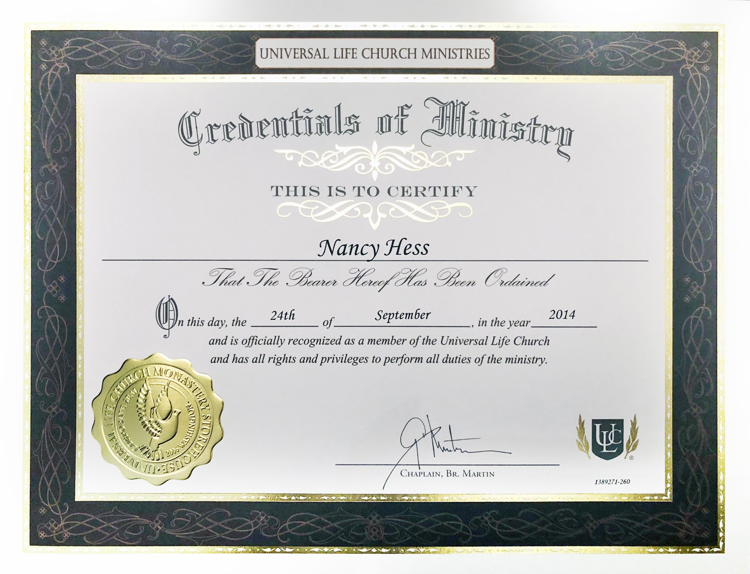 ordained+minister+certificate