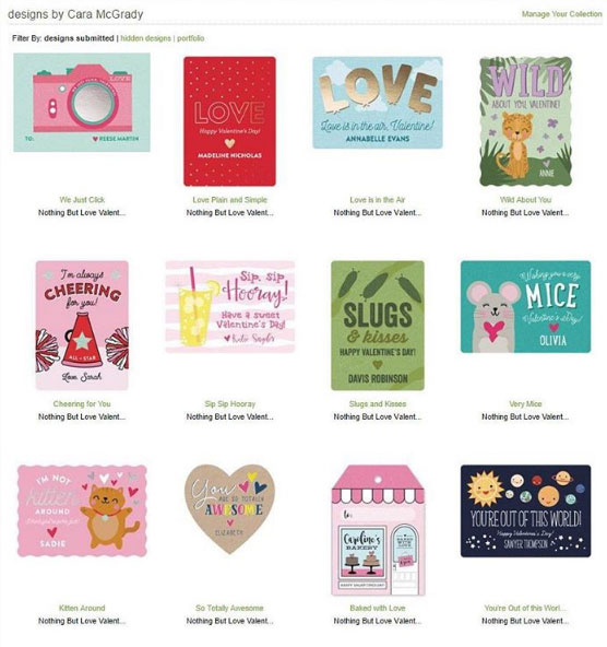 Cara McGrady, One Swell Studio, Valentine's Day Minted Design Challenge Submissions